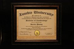 Looking for something unique? The Official Zombie University Diploma* (Deluxe) is it! This is the Deluxe version and is a bit fancier than our Regular version.  What makes these Official? I own and operate both www.ZombieUniversity.com and www.ZombieUniversity.net. Anyone else doing these, well, its just a copy.  This Deluxe version is printed on 66 lb. stock and is embossed with foil and includes a foil seal. Each one is hand signed by both the President of Zombie University as well as the…