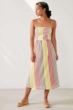1c3cfbd16f7 Cooperative Square-Neck Striped Midi Dress