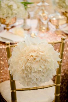 diy poof chair decor #diy #weddingreception #weddingchicks http://www.weddingchicks.com/2014/02/19/glamorous-rose-gold-wedding/