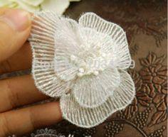 Online Shop 8 Pcs bela Off White Lace Applique flor costura Trims DIY Craft|Aliexpress Mobile
