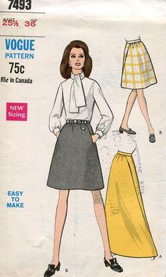 FREE US SHIP Vogue 7493 Vintage Retro 1960s 60s Skirt Evening Length Uncut 25.5 Deep Slant Pocket Band Waist 25.5 Sewing Pattern by LanetzLivingPatterns on Etsy