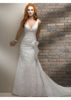 Tulle and Satin V-Neckline A-Line Style with Satin Asymmetrical Wrap Wedding Dress WM-0605