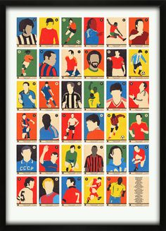 Football Legends A-to-Z Print Alphabet 67 Inc.com Collecting football cards was huge when we were kids, now you have the opportunity to get them all in one go and not have the annoying missing one or two! We came up with our list of the 35 greatest players of all time (this took a while, with many arguments) and have presented them as an A2 Alphanumeric / Alphabet print in the style of 1960's trading cards. From Gordon Banks to Ronaldo, Carlos Alberto to Zidane