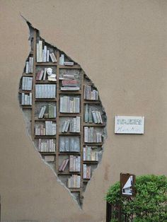 A library wall sculpture