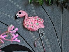 Thick Yarn, Needle Felting, Flamingo, Black And Grey, Crochet Earrings, Applique, Colours, Sewing, Pink