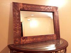Rustic band sawn pine mirror  reclaimed mirror  by SkattumDesigns