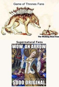 I'm literally apart of TWD fandom and the Supernatural fandom and this is so accurate! Jensen Ackles, Jared Padalecki, Destiel, Funny Memes, Hilarious, Fandom Crossover, Bubbline, Supernatural Memes, Panic! At The Disco