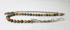 Mens Wallet Chain, Jasper and Pyrite Beaded Gemstone Wallet Chain, 925 Sterling Silver Handmade Hook, Gift for Him