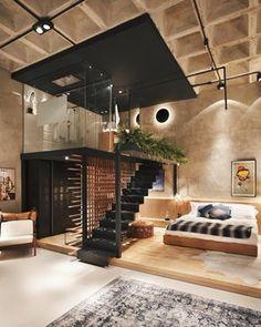 Modern Loft Apartment, Apartment Interior Design, Home Interior, Interior Modern, Modern Lofts, Modern Luxury, Modern Rustic, Luxury Loft, Luxury Hotels