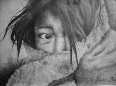 A drawing of a hiding child.  Black and white