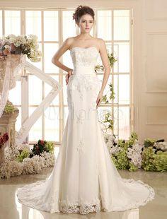 Sereia Sweetheart pescoço laço tribunal trem vestido de casamento nupcial marfim - Milanoo.com