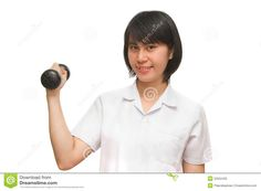 Photo about Healthy woman lifting a dumbbell,isolate. Image of beauty, dumbbell, exercise - 32552402 Women Lifting, Healthy Women, Daniel Wellington, Exercise, Stock Photos, Woman, Photography, Beauty, Fashion