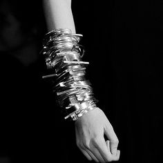 SORN/Fashion: Mechanical Bangled Stack, Ann Demeulemeester, Paris F/W 2014 | sornmag.com Ann Demeulemeester, Fashion Photography, Diamonds, Fashion Jewelry, Bangles, Necklaces, Paris, Jewellery, Jewels