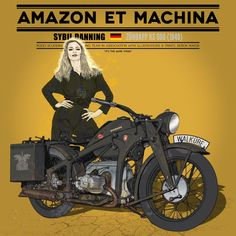 Sybil Danning with the Zundapp KS 600 One of a series of illustrations signed by Señor Mayor, entirely dedicated to iconic models paired with actresses of the same years wearing motorcycle suits or leathers. Indian Motorcycles, Triumph Motorcycles, Vintage Motorcycles, Cars And Motorcycles, Mv Agusta, Motorcycle Suit, Motorbike Girl, Bobber, Ducati