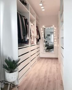Minimalist Closet Design With Drawers With Open Shelving And Holders - A white . - Minimalist Closet Design With Drawers With Open Shelving And Holders – A white minimalist closet - Walk In Closet Design, Bedroom Closet Design, Closet Designs, Bedroom Decor, Small Walk In Closet Ideas, Modern Bedroom, Master Bedroom, Mirror Bedroom, Ikea Bedroom