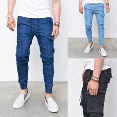 Mens Denim Slim Baggy Cargo Cuffed Jogger Sweatpants By Guylook.com