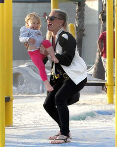 Rocking a longer hairstyle, Pink and her daughter Willow shared a laugh on the playground in L.A. June 9.