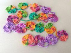 Flower Scarf Handmade Crochet  Rainbow mix tones Flower by Periay