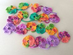Flower Scarf Handmade Crochet  Rainbow mix tones Flower by Periay