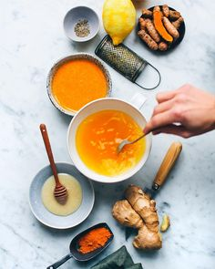 Time to whip up a batch of Ginger & Turmeric Honey. Just grate a large piece of fresh ginger and fresh or ground turmeric into a small jar of honey, along with lemon zest and black pepper. Use in tea, hot lemon water or on top of your breakfast porridge. So good and perfect for sneeze season. 🤧