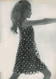 vintage fashion 1966 | Model wearing a Malcolm Starr party dress, 1966