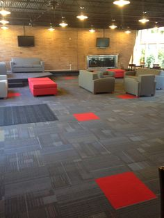 The Northwest Nazarene University student center received an update (May 2013) with new carpet tiles in a very fun random pattern.