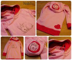 Kaputzensweater als Kleid Schnittmuster: Ottobre Design 4/2013, Modell 26, deutlich verlängert und mit breiten Bündchen versehen Stickdatei: Urban Threads Stoffe: rosa Sweat und ein Rest Jersey