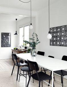 Black decor in a white interior - via cocolapinedesign.com