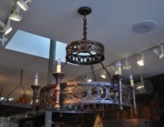Amazing Italian Villa Style hand forged 6-light wrought iron chandelier. We have two in stock and price is per piece, see detail images, it's gorgeous.