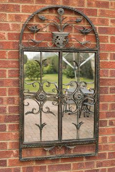 Large Rustic Scroll Garden Outdoor Wall Mirror 4Ft3 X 2Ft4, 130cm X 70cm