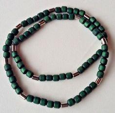 Aarikka Finland Vintage Necklace Dark Green Wood Beads and Silver Toned  Beads #Aarikka #Beaded