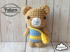Crochet Pattern : Bear with sling bag by Yunies on Etsy