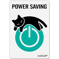 Cat stickers, Black Cat Sticker and IconCat (R) POWER SAVING