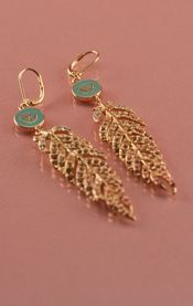 10K GOLD ANTIQUE EARRINGS W/ PAVE FEATHERS