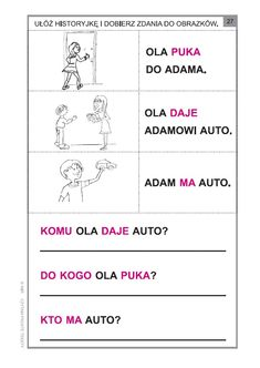 Polish Language, Speech Pathology, Grammar, Activities For Kids, Classroom, Teaching, Education, School, Asd