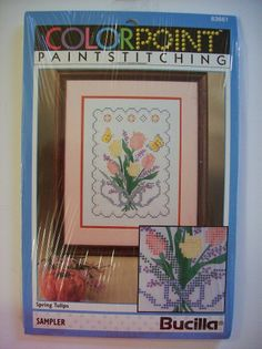 "SPRING TULIPS Colorpoint Paintstitching Bucilla Sampler 9""X12"" Butterflies"