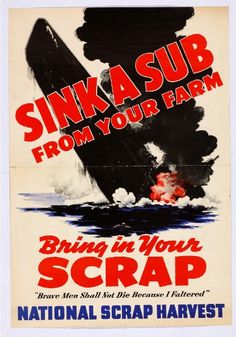 SINK A SUB FROM YOUR FARM VINTAGE WORLD WAR 2 VINTAGE  POSTER  # 4 A3//A4 Size