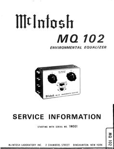 McIntosh MC-420 Car Amplifier , Original Service Manual