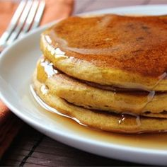 """Pumpkin Pancakes   """"These are good any season but taste best on cold winter mornings. You can use canned or cooked fresh pumpkin."""""""