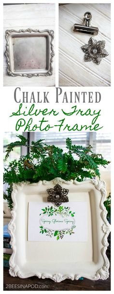 We are always looking for creative ways to display family pictures in our homes. Here's a chalk painted silver tray photo frame. Trust me, I know some of my ideas seem off the wall. Being a creative person, it feels like my mind never shuts off. I am always reimagining, rethinking, refiguring, redoing everything in ... Read More about  Chalk Painted Silver Tray Photo Frame