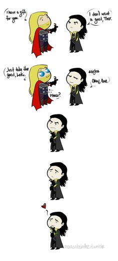 Just take the goat Loki :) (I dont know why Thor is giving Loki a little goat, but this is cute) ---- aaawww.... Loki!! <3