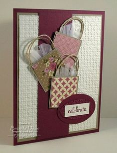 celebrate with shopping! by bdindle - cards and paper crafts at celebrate with shopping! by bdindle - cards and paper crafts at SplitcoaststampersTips and templates: Christmas cards craft childrenChristmas cards craft heart Cute Cards, Diy Cards, Embossed Cards, Card Tags, Creative Cards, Unique Cards, Greeting Cards Handmade, Scrapbook Cards, Homemade Cards
