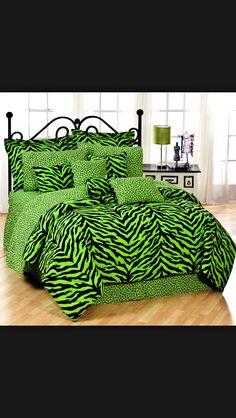Tomboy girls here is a green zebra print comforter