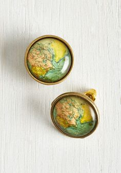 Map Out of It! Earrings - Gold, Casual, Quirky, Nifty Nerd, Good, Travel, Exclusives, Private Label, Gifts2015, Spring, Summer
