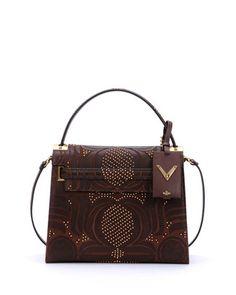 My Rockstud Medium Primitive Satchel Bag, Brown by Valentino at Neiman Marcus.