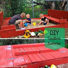 Sandbox with Cover | DIY Sandbox Ideas, see more at: http://diyready.com/diy-sandbox-ideas/