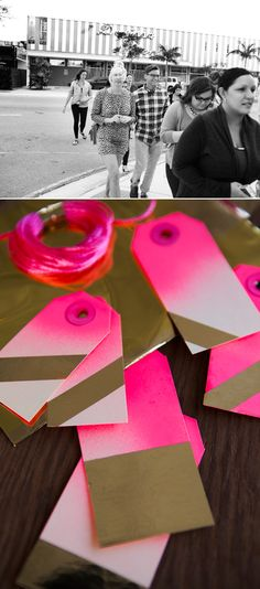 Pink spray paint and gold. Super fun DIY gift tags