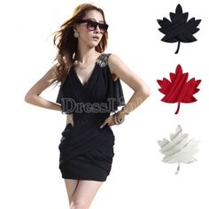 $ 6.65 New Korean Women's Stylish Batwing Sleeve Slim Folds Vest Mini Dress Dresses 3Colors