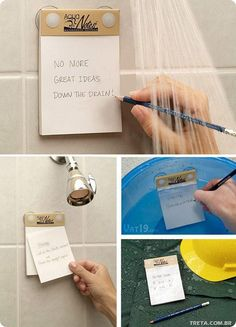 Waterproof shower notes! WHAT?!? I need boxes of these things!