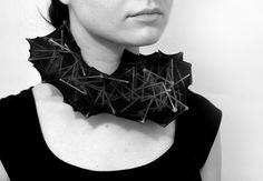 """Justina Zymonaitė( Lithuania.)-necklace structures - wooden sticks,stockings,glue - 2010  """"For me, jewellery firstly is a connection between body and object, between body and surroundings, between maker and wearer, between wearer and viewer. Those connections are the direction I am interested in and working with."""""""